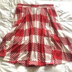 LuLaRoe Madison red white plaid skirt XL
